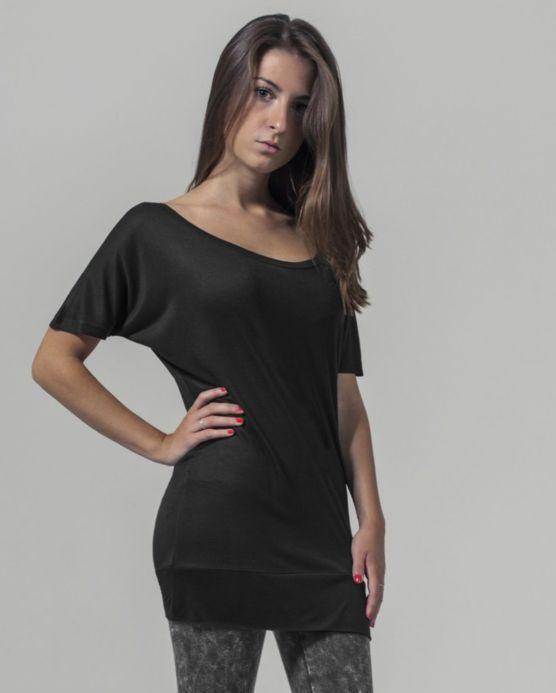 020b4e6c1c02 Dámské tričko extra dlouhé BY040 černé